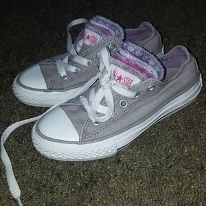 Girls Gray Converse Shoes Size 11